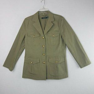 Ralph Lauren Army Green Knit Cotton Blazer 12